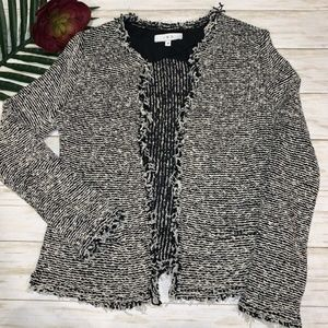 IRO Azure Black White Bouclé Knit Fringe Jacket